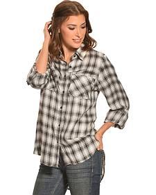 New Direction Women's Black & White Plaid Western Shirt