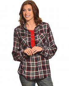 New Direction Sport Women's Navy & Red Plaid Western Shirt