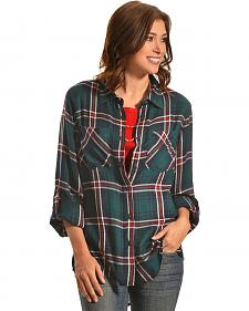 New Direction Sport Women's Emerald & Red Plaid Western Shirt