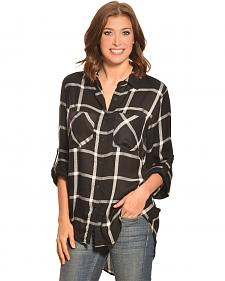 New Direction Sport Women's Black & White Windowpane Plaid Western Shirt