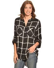 New Direction Sport Women's Black & White Windowpane Plaid Western Shirt