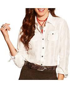 Ariat Women's White Lurex Buffalo Snap Shirt