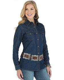 Wrangler Women's Denim Western Yoke Long Sleeve Shirt