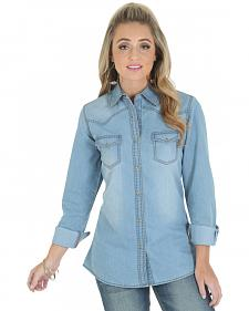 Wrangler Women's Premium Long Sleeve Denim Shirt