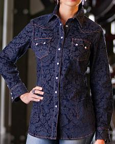 Ryan Michael Women's Flocked Jacquard Shirt