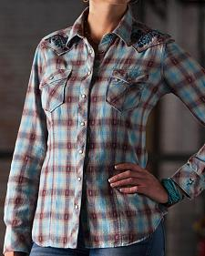 Ryan Michael Women's Embroidered Sky Plaid Shirt