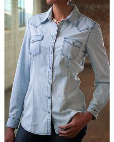 Ryan Michael Women's Chambray Indigo Pick Stitch Shirt