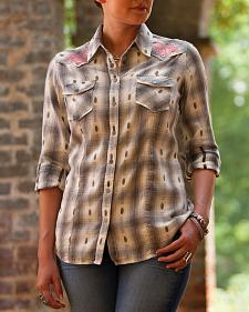 Ryan Michael Women's Embroidered Dobby Plaid Shirt