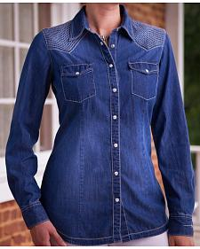 Ryan Michael Women's Quilted Yokes Denim Shirt