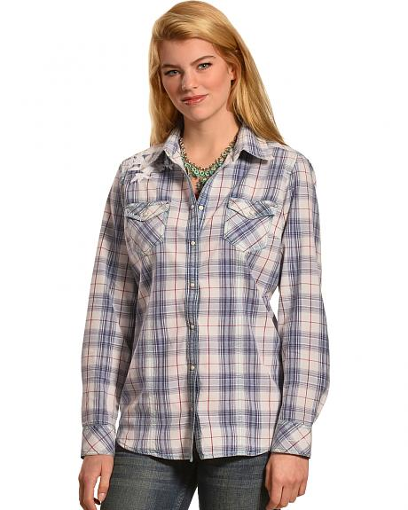 Ryan Michael Women's Sun-Bleached Plaid Shirt