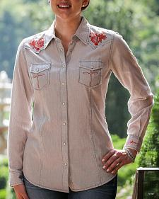 Ryan Michael Women's Embroidered Stripe Western Shirt