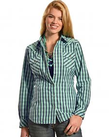 Ryan Michael Women's Embroidered Yoke Plaid Shirt