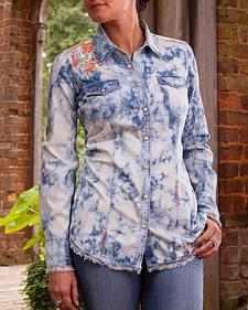 Ryan Michael Women's Embroidered Tie Dye Shirt