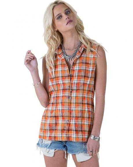 White Crow Women's Plaid and Lace Flip-Side Top