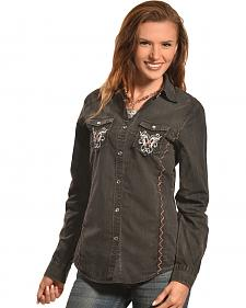 Crazy Cowboy Women's Washed Denim Western Snap Shirt