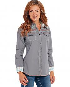Cowgirl Up Women's Grey Embroidered Yoke Western Shirt
