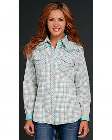 Cowgirl Up Women's Aqua Plaid Embroidered Snap Shirt
