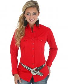 Wrangler Women's Solid Red Snap Pocket Western Shirt