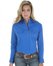 Wrangler Women's Solid Blue Snap Pocket Western Shirt