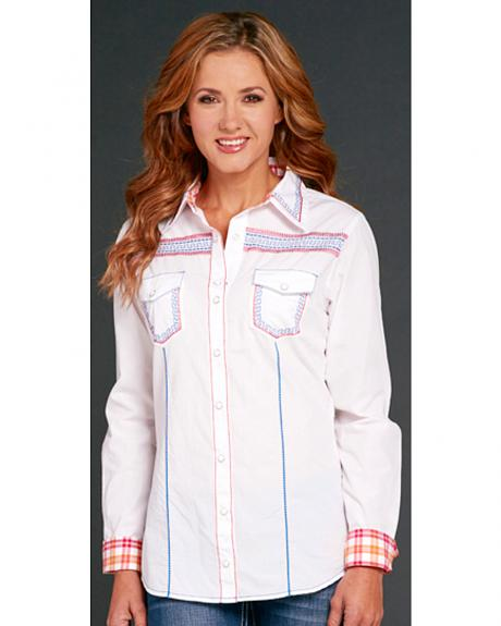 Cowgirl Up White Long Sleeve Embroidered Shirt
