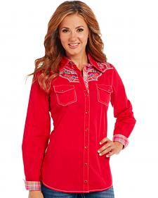 Cowgirl Up Red Long Sleeve Embroidered Shirt