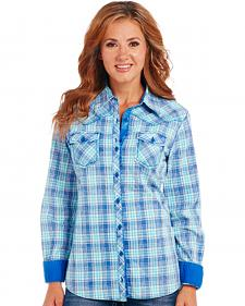 Cowgirl Up Blue Plaid Long Sleeve Shirt