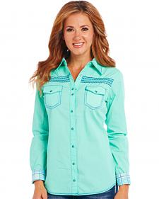 Cowgirl Up Seafoam Long Sleeve Embroidered Shirt