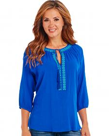 Cowgirl Up Blue Poet Blouse