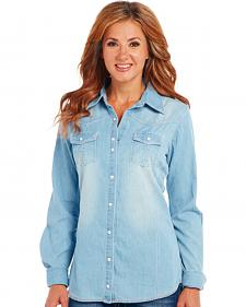 Cowgirl Up Light Blue Denim Long Sleeve Shirt