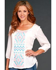 Cowgirl Up White Embroidered Blouse