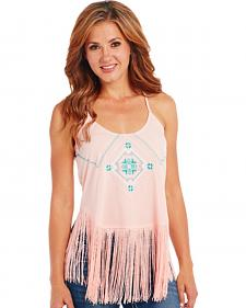 Cowgirl Up Embroidered Fringe Tank Top