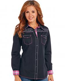 Cowgirl Up Women's Black Embroidered Long Sleeve Shirt