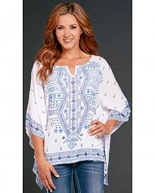 Cowgirl Up Women's Embroidered White Poncho