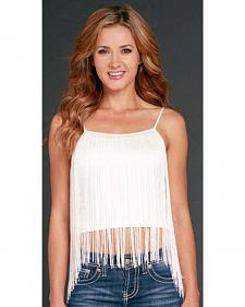 Cowgirl Up Women's White Fringe Cami