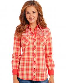 Cowgirl Up Orange Plaid Long Sleeve Embroidered Shirt
