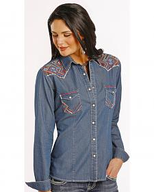 Rough Stock by Panhandle Slim Women's Carderock Chambray Western Shirt