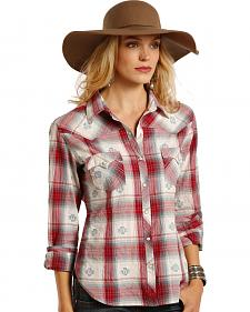 Panhandle Slim Women's White Label Red Dobby Plaid Western Shirt