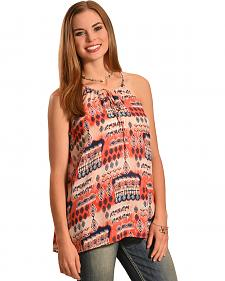 Jody of California Women's Printed Keyhole Sleeveless Top