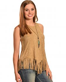Jody of California Women's Faux Suede Fringe Tank Top