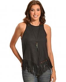 Jody of California Faux Suede Fringe Tank Top