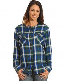 New Direction Women's Frayed Edge Blue Plaid Shirt