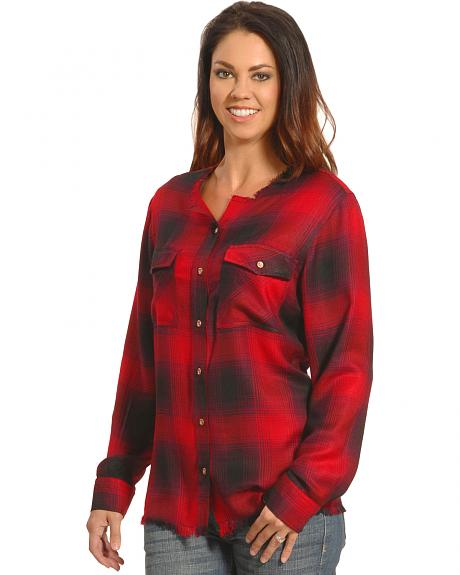 New Direction Women's Frayed Edge Red Plaid Shirt