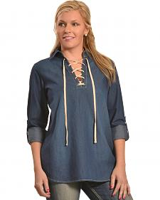 New Direction Women's Moleskin Lace-Front Denim Shirt