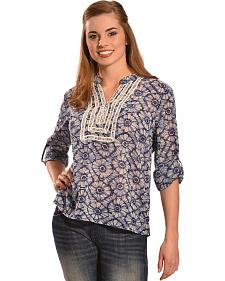 Tantrums Women's Blue Floral Crochet Peasant Top