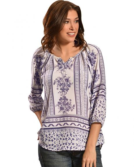 Tantrums Women's Blue and White Floral Mix Top