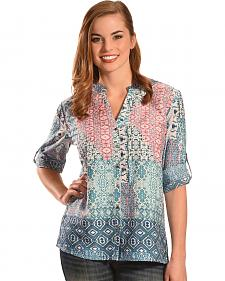 Tantrums Women's Multi-Print Y-Neck Top