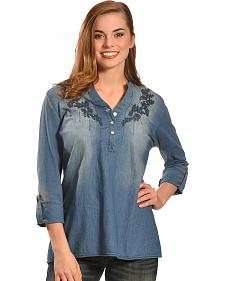 Tantrums Women's Denim Embroidered Top