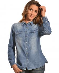 Tantrums Women's Denim Crochet Western Snap Shirt