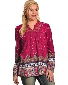 Tantrums Women's Red Berry Border Print Shirt