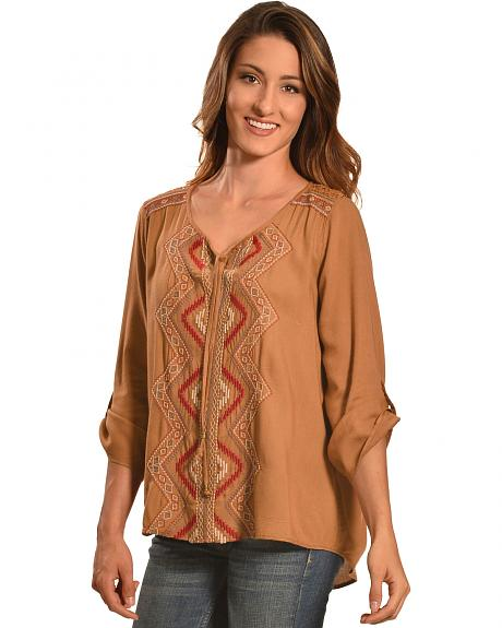 Tantrums Women's Camel Embroidered Lace Hi-Lo Shirt